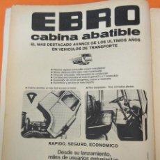 Coches y Motocicletas: PUBLICIDAD 1970 - COLECCION COCHES - CAMIONES EBRO CABINA ABATIBLE. Lote 57072088