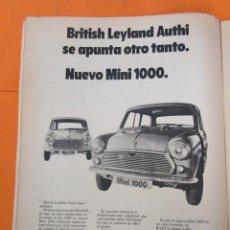 Coches y Motocicletas: PUBLICIDAD 1970 - COLECCION COCHES - NUEVO MINI 1000. Lote 57072624