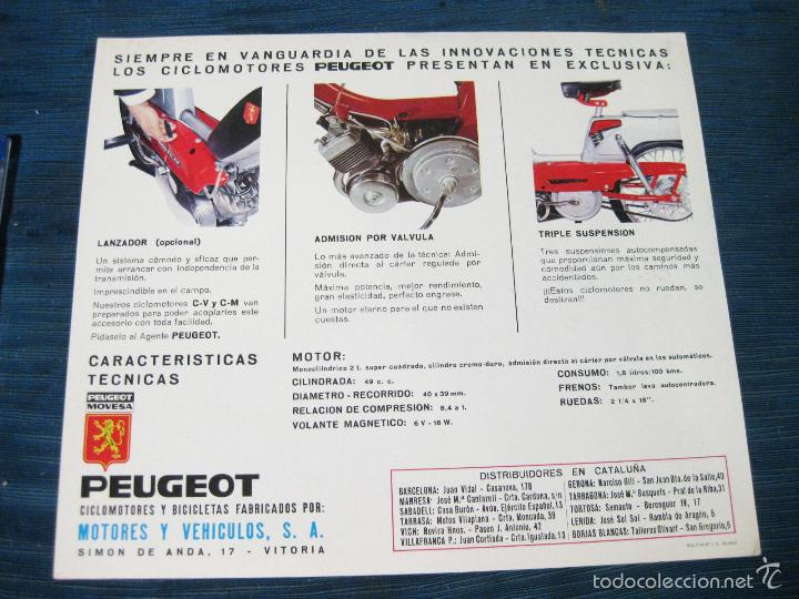 Coches y Motocicletas: HOJA CATALOGO DE CICLOMOTORES PEUGEOT MOVESA CON CARACTERISTICAS - Foto 2 - 57359289