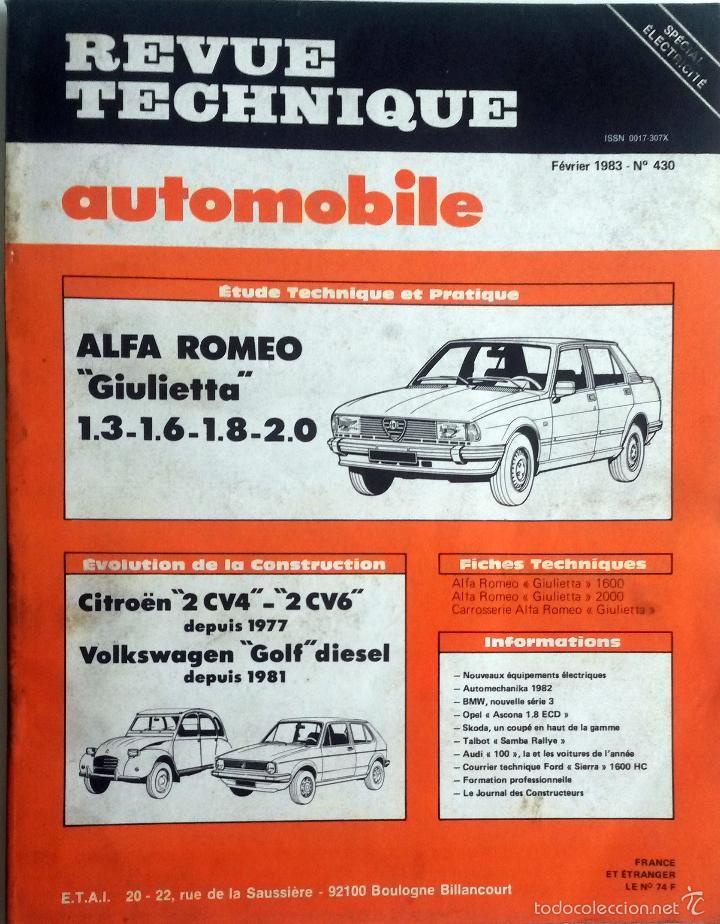 REVUE TECHNIQUE Nº 430 - FEBRERO 1983. (Coches y Motocicletas Antiguas y Clásicas - Catálogos, Publicidad y Libros de mecánica)