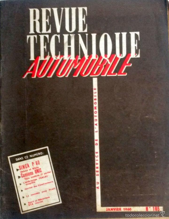 REVUE TECHNIQUE Nº 165 ENERO 1960. (Coches y Motocicletas Antiguas y Clásicas - Catálogos, Publicidad y Libros de mecánica)