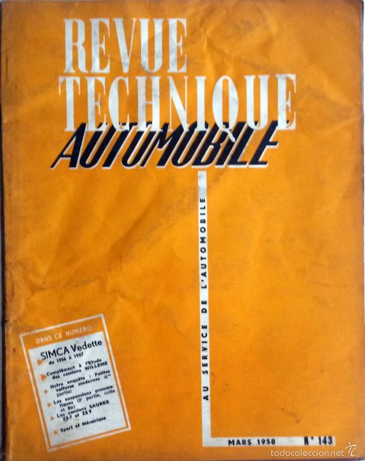REVUE TECHNIQUE Nº 143 MARZO 1958. (Coches y Motocicletas Antiguas y Clásicas - Catálogos, Publicidad y Libros de mecánica)