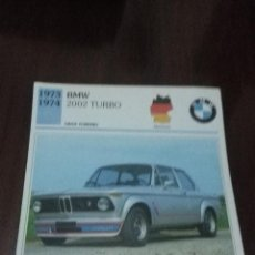 Coches y Motocicletas: FICHAS DE AUTOS - COCHES. BMW 2002 TURBO. . Lote 57711914
