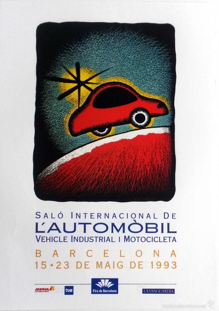 Coches y Motocicletas: PÓSTER SALÓN DEL AUTOMÓVIL BARCELONA 1993. - Foto 2 - 57735269