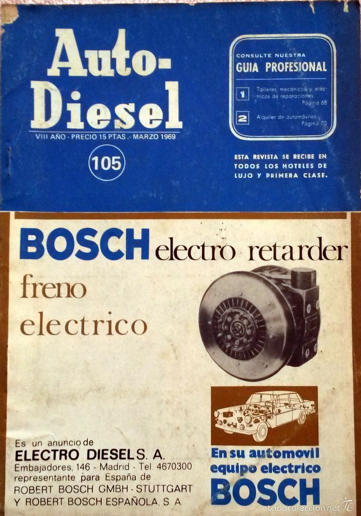 REVISTA AUTO-DIESEL Nº 105 - MARZO 1969. (Coches y Motocicletas Antiguas y Clásicas - Catálogos, Publicidad y Libros de mecánica)