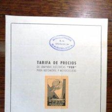 Coches y Motocicletas: FOLLETO TARIFA DE PRECIOS LAMPARAS ELECTRICAS FER PARA AUTOMOVIL Y MOTOCICLETAS (MOTO COCHE) 1957. Lote 58216085