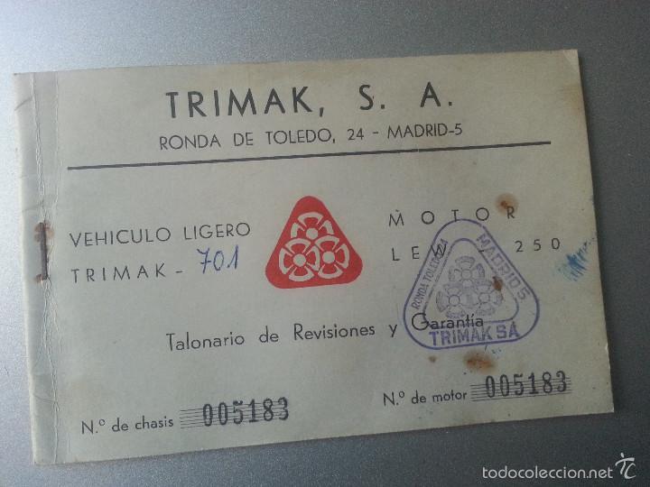 TRIMAK 701 TALONARIO DE REVISIONES Y GARANTIA MOTOR LEW 250 1965 REUS (Coches y Motocicletas Antiguas y Clásicas - Catálogos, Publicidad y Libros de mecánica)