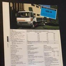 Coches y Motocicletas: FOLLETO CATALOGO PUBLICIDAD ORIGINAL IVECO CHASIS CABINA Y CAMION 109.14 DE 1987. Lote 58354640