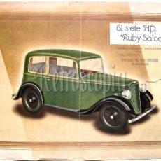 Coches y Motocicletas: CATALOGO PUBLICIDAD EL SIETE HP AUSTIN RUBY SALOON AÑO 1937 EN CASTELLANO. Lote 94558656
