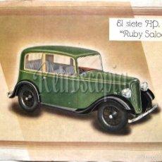 Coches y Motocicletas: CATALOGO PUBLICIDAD EL SIETE HP AUSTIN RUBY SALOON AÑO 1937 EN CASTELLANO. Lote 94558726