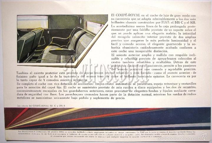Coches y Motocicletas: CATALOGO PUBLICIDAD FIAT COUPÉ ROYAL 521 C Y 525 S AÑOS 40 EN CASTELLANO - Foto 2 - 58488101