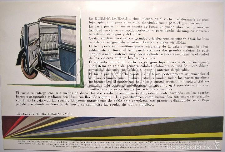 Coches y Motocicletas: CATALOGO PUBLICIDAD FIAT BERLINA LANDAU 521 Y 525 N AÑOS 40 EN CASTELLANO - Foto 2 - 58488115