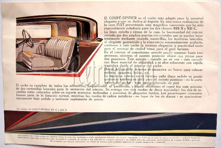 Coches y Motocicletas: CATALOGO PUBLICIDAD FIAT COUPÉ SPYDER 521 C Y 525 S AÑOS 40 EN CASTELLANO - Foto 2 - 58488127