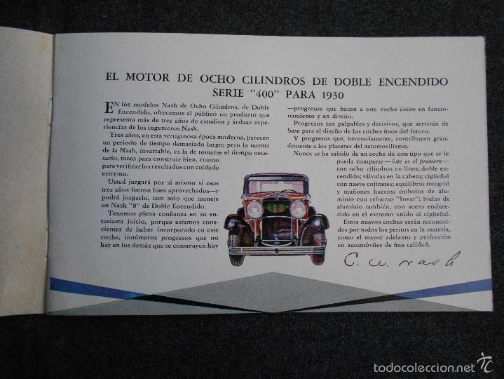 Coches y Motocicletas: Nash 400 año 1930 Lujoso Catálogo de 20 páginas con todos los modelos. Excelente estado. - Foto 3 - 58504993
