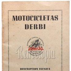Coches y Motocicletas: CATALOGO PUBLICIDAD INSTRUCCIONES MANUAL MOTOCICLETAS DERBI 125 C.C. TURISMO CONFORT 1958 CASTELLANO. Lote 58543671