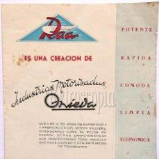 Coches y Motocicletas: CATALOGO FOLLETO MOTOCICLETAS ROA INDUSTRIAS MOTORIZADAS ONIEVA MOTOR HISPANO VILLIERS. AÑOS 50. Lote 58543869