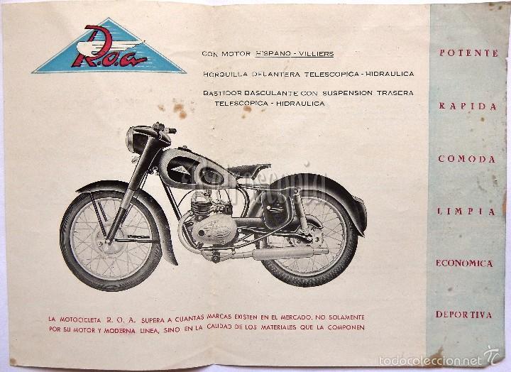 Coches y Motocicletas: CATALOGO FOLLETO MOTOCICLETAS ROA INDUSTRIAS MOTORIZADAS ONIEVA MOTOR HISPANO VILLIERS. AÑOS 50 - Foto 2 - 58543869