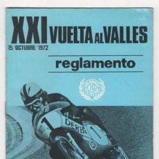 Coches y Motocicletas: (ALB-TC-2) REGLAMENTO XXI VUELTA AL VALLES 15 OCTUBRE 1972 TROFEO DERBI . Lote 58924990