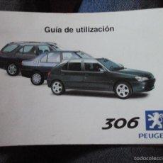 Coches y Motocicletas: GUIA UTILIZACION PEUGEOT 306 DE 1999. Lote 59536299