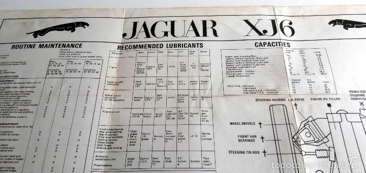 POSTER OFICIAL CARACTERÍSTICAS Y MANTENIMIENTO ESQUEMA ELECTRICO JAGUAR XJ6 AÑO 1972. (Coches y Motocicletas Antiguas y Clásicas - Catálogos, Publicidad y Libros de mecánica)
