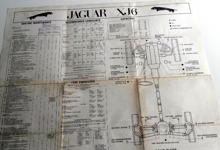 Coches y Motocicletas: POSTER OFICIAL CARACTERÍSTICAS Y MANTENIMIENTO ESQUEMA ELECTRICO JAGUAR XJ6 Año 1972. - Foto 2 - 59850800