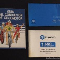 Carros e motociclos: LOTE MANUAL DE INSTRUCCIONES ORIGINAL VESPINO F 9 F9 E DE 1992 LIBRO DE GARANTIA GUIA DEL CONDUCTOR. Lote 60070979