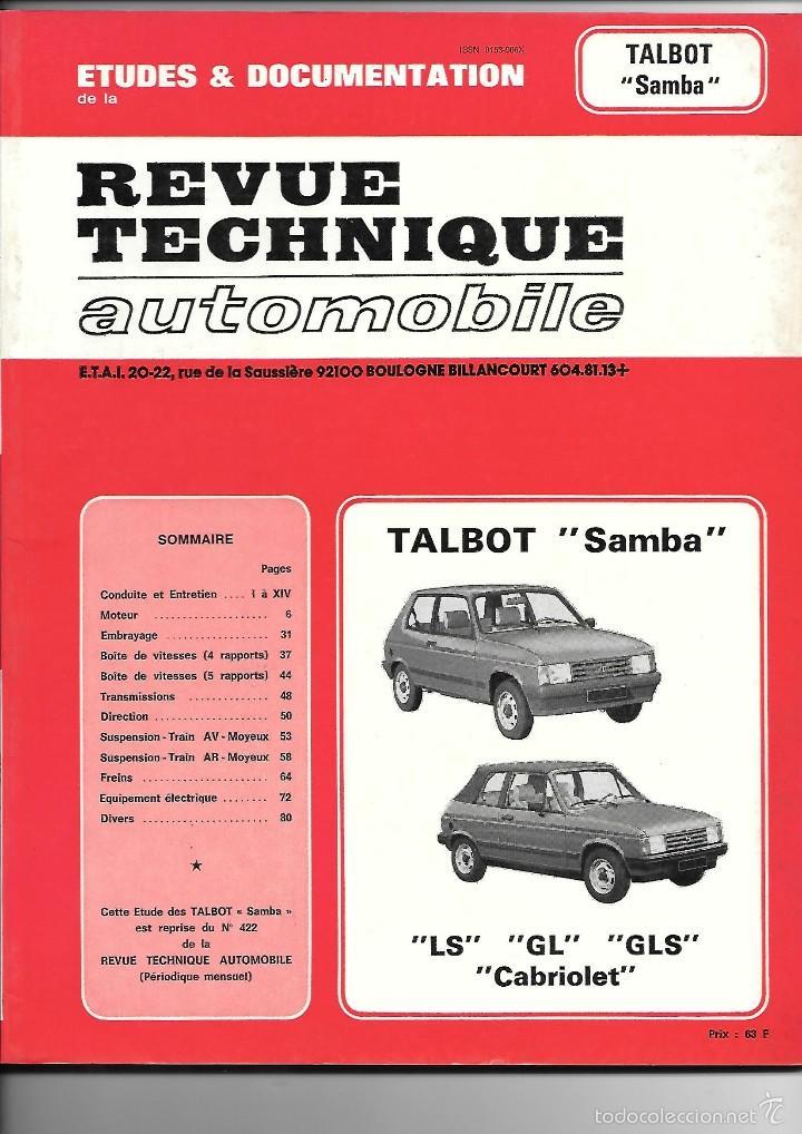 TALBOT, SANBA, LS, GL, GLS, CABRIOLET. REVUE TECHNIQUE AUTOMOBILE (Coches y Motocicletas Antiguas y Clásicas - Catálogos, Publicidad y Libros de mecánica)