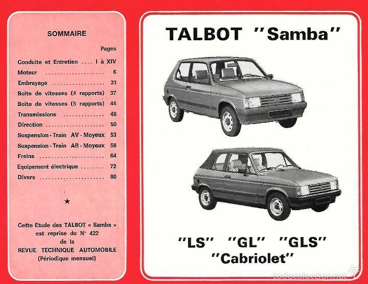 Coches y Motocicletas: TALBOT, SANBA, LS, GL, GLS, CABRIOLET. REVUE TECHNIQUE AUTOMOBILE - Foto 2 - 60606579