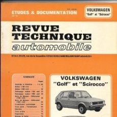 Coches y Motocicletas: WOLKSWAGEN, GOLF ET SCIROCCO REVUE TECHNIQUE AUTOMOBILE,. Lote 60607651