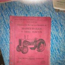 Coches y Motocicletas: LIBRO DE INSTRUCCIONES Y MANEJO DEL MASSEY-HARRIS 55 DIESEL TRACTOR. Lote 60820075