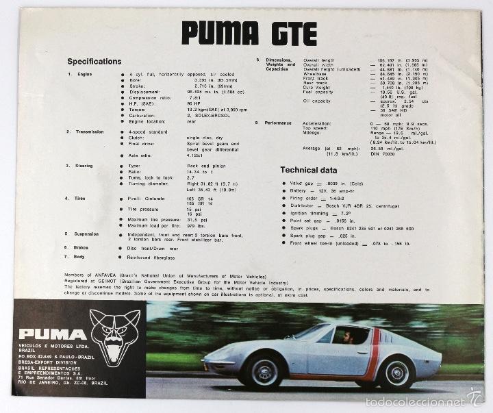Coches y Motocicletas: Folleto publicitario deportivo clásico PUMA GTE - Foto 2 - 60954947