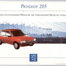 Coches y Motocicletas: PEUGEOT 205 MANUAL DEL CONDUCTOR - 1987. Lote 60992187