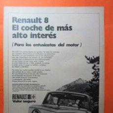 Coches y Motocicletas: PUBLICIDAD 1971 - COLECCION COCHES - RENAULT 8. Lote 62146008