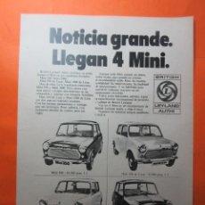 Coches y Motocicletas: PUBLICIDAD 1970 - COLECCION COCHES - MINI BRITISH LEYLAND AUTHI. Lote 64402535