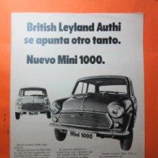 Coches y Motocicletas: PUBLICIDAD 1970 - COLECCION COCHES - MINI 1000 BRITISH LEYLAND AUTHI. Lote 62147068