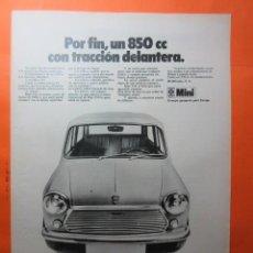 Coches y Motocicletas: PUBLICIDAD 1970 - COLECCION COCHES - MINI 850 BRITISH LEYLAND AUTHI. Lote 62147076
