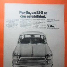 Coches y Motocicletas: PUBLICIDAD 1970 - COLECCION COCHES - MINI 850 BRITISH LEYLAND AUTHI. Lote 62147116
