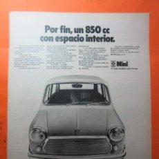 Coches y Motocicletas: PUBLICIDAD 1970 - COLECCION COCHES - MINI 850 BRITISH LEYLAND AUTHI. Lote 62147124