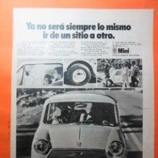Coches y Motocicletas: PUBLICIDAD 1970 - COLECCION COCHES - MINI 850 BRITISH LEYLAND AUTHI. Lote 62147196