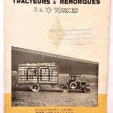 Coches y Motocicletas: CATALOGO DÍPTICO PUBLICIDAD RENAULT TRACTORES Y REMOLQUES 5 Y 10 TONELADAS AÑOS 20 EN FRANCÉS. Lote 62472372
