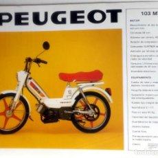Coches y Motocicletas: CATÁLOGO ORIGINAL PEUGEOT 103 MTV - SC 80 L.. Lote 63118068