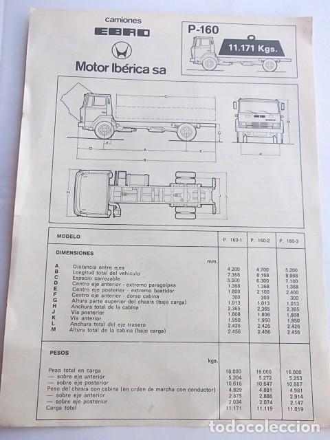 CAMIONES EBRO P-160 ANTIGUA HOJA DE CARACTERISTICAS,MUY BUEN ESTADO,BARATA (Coches y Motocicletas Antiguas y Clásicas - Catálogos, Publicidad y Libros de mecánica)