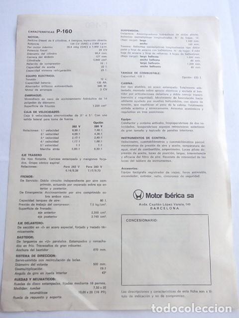 Coches y Motocicletas: CAMIONES EBRO P-160 ANTIGUA HOJA DE CARACTERISTICAS,MUY BUEN ESTADO,BARATA - Foto 2 - 63791791