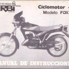 Coches y Motocicletas: DERBI CICLOMOTOR 4V. MODELO FDX. MANUAL DE INSTRUCCIONES 1985. Lote 113030584