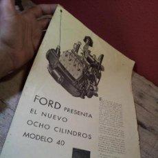 Coches y Motocicletas: CATALOGO ORIGINAL FORD PRESENTACION NUEVO OCHO CILINDROS MODELO 40--AÑOS 30 ORIGINAL. Lote 63976323