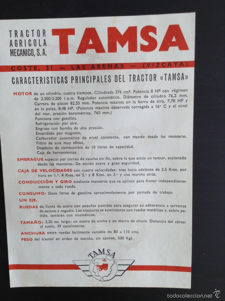 Coches y Motocicletas: Folleto publicitario Tractor TAMSA. COMPLETO E IMPECABLE - Foto 4 - 64145682