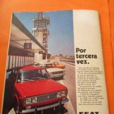 Coches y Motocicletas: PUBLICIDAD 1970 - COLECCION COCHES - SEAT 850 124 1430 / TRASERA CIRCUITO DEL JARAMA PLANO. Lote 64395179