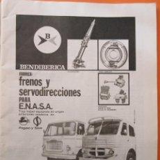 Coches y Motocicletas: PUBLICIDAD 1970 - COLECCION COCHES - BENDIBERICA FRENOS Y SERVODIRECCIONES ENASA PEGASO. Lote 64400223