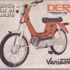 Coches y Motocicletas: DERBI VARIANT CATALOGO PIEZAS Y ESQUEMAS DE MONTAJE 1977. Lote 64414771