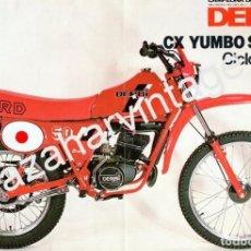 Coches y Motocicletas: FOLLETO TAMAÑO FOLIO. PUBLICIDAD CICLOMOTOR DERBI CX YUMBO SUPER.. Lote 66255266